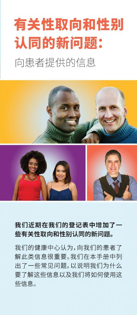 New Sexual Orientation and Gender Identity Questions: Information for Patients Translated into Simplified Chinese