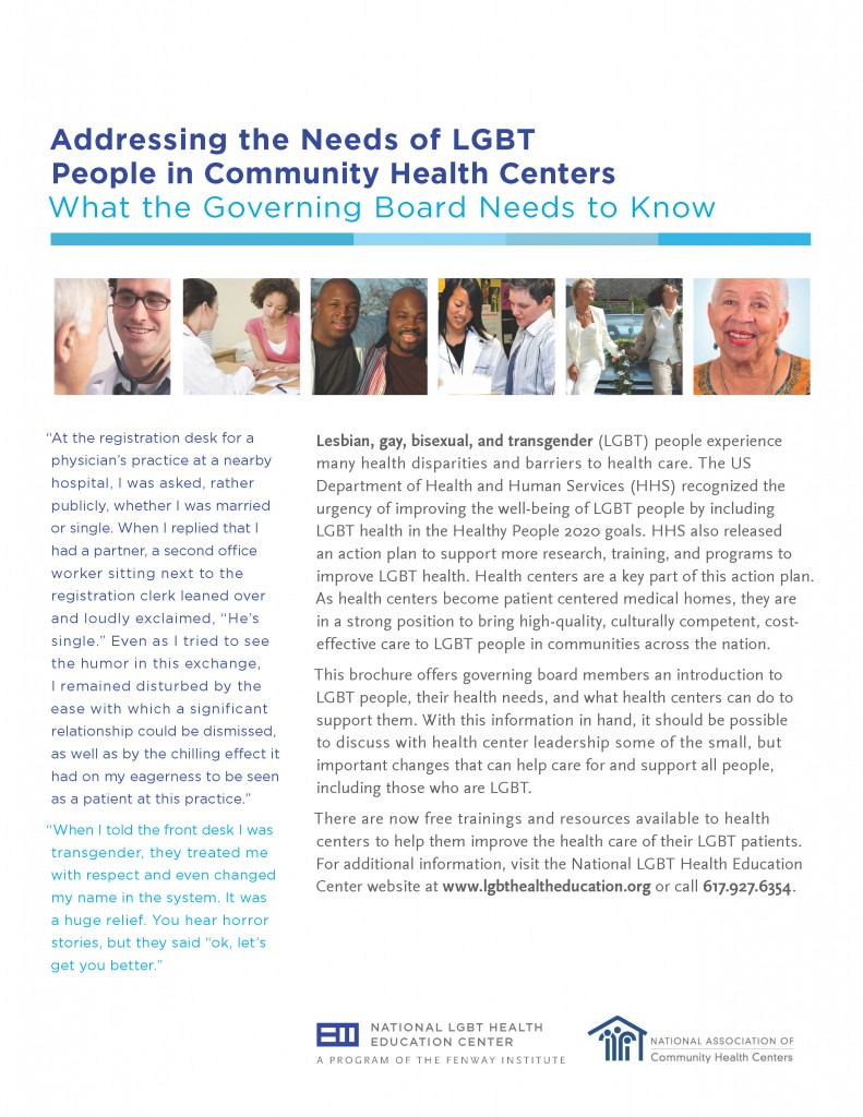Addressing the Needs of LGBT People in Community Health Centers: What the Governing Board Needs to Know